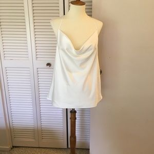 Express white silk cowl camisole NWT